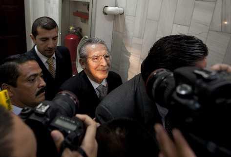 José Efraín Ríos Montt, en la Torre de Tribunales, el 28 de enero último, al saber que va a juicio por genocidio.