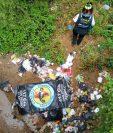 En un río de aguas negras, kilómetro 15 ruta a San Pedro Ayampuc, se localizó el cuerpo sin vida de una mujer. (Foto Prensa Libre: CBV)