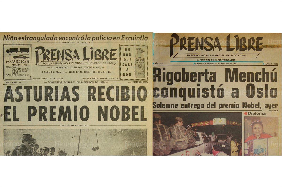 El 11/12/1967 Prensa Libre informa que Miguel Angel Asturias había ganado el Premio Nobel de Literatura. El 11/12/1992 Rigoberta Menchú ganaba el premio Nobel de la Paz. (Foto: Hemeroteca PL)