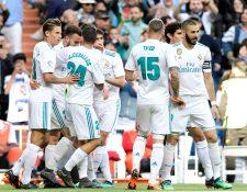 Los jugadores del Real Madrid festejan ante el Leganés. (Foto Prensa Libre: AFP)