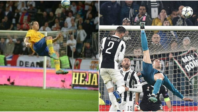 La chilena de Zlatan le valió el premio Puskas en 2012, mientras Cristiano Ronaldo es alabado por todos los amantes del futbol. (Foto Prensa Libre: Hemeroteca PL)