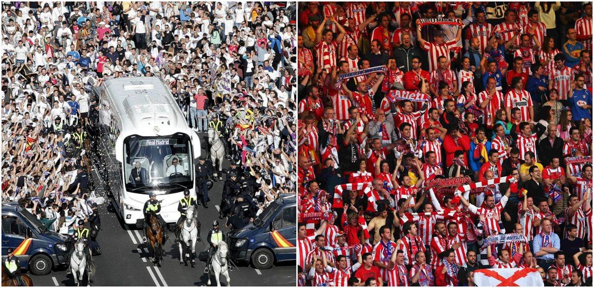 La afición le pone el toque especial al derbi madrileño. (Foto Prensa Libre: )