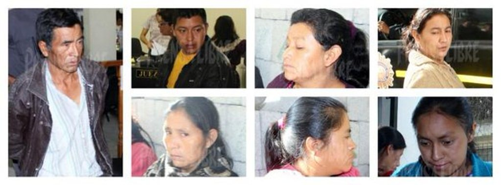 Los siete sindicados de haber cometido delito electoral en Chichicastenango, Quiché. (Foto Prensa Libre: Óscar Figueroa)