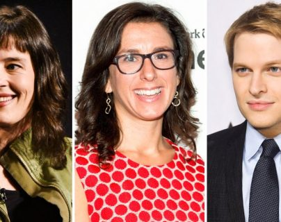 De izquierda a derecha Megan Twohey, Jodi Kantor y Ronan Farrow fueron distinguidos este lunes con el premio Pulitzer.(AFP).