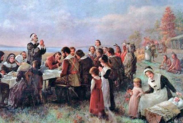 El primer día de Accio?n de Gracias en Plymouth (1914), de Jennie A. Brownscombe. La pintura muestra la convivencia entre colonizadores y los nativos americanos. (Foto: Hemeroteca PL)
