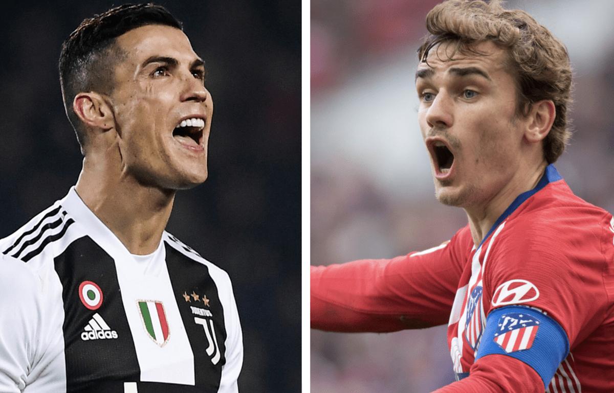 Cristiano Ronaldo y Antoine Griezmann se volverán a ver las caras, ahora en el duelo Juventus - Atlético por los octavos de final de la Champions. (Foto Prensa Libre: AFP)