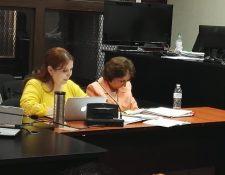 La expresidenta de la CSJ durante la audiencia en el Juzgado de Mayor Riesgo B. (Foto Prensa Libre: Glenda Sánchez)