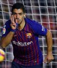Luis Suárez festejó otra vez con la camisola del Barcelona y ayudó a la remontada. (Foto Prensa Libre: AFP)