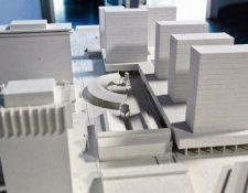 Maqueta del complejo de edificios que se construirá en el área de FEGUA en la zona 1.