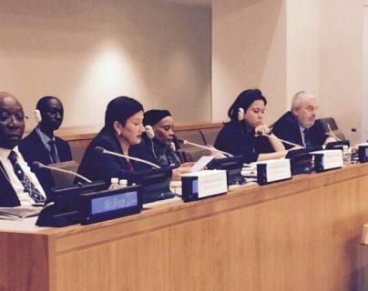 La fiscal general Thelma Aldana expone el caso Sepur Zarco ante el PNUD en New York, Estados Unidos. (Foto Prensa Libre: Cortesía)