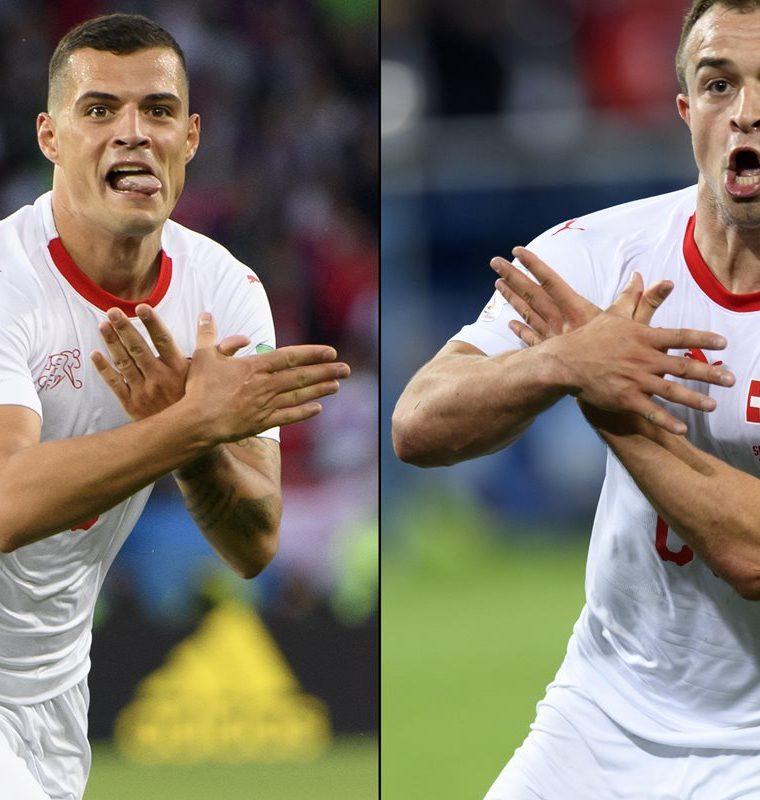 Xhaka empató el juego contra Serbia y Shaqiri cerró la remontada de los suizos. (Foto Prensa Libre: EFE)