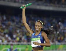 La atleta estadounidense Allyson Felix promueve la candidatura de Los Ángeles para los Juegos Olímpicos de 2024. (Foto Prensa Libre: AP)
