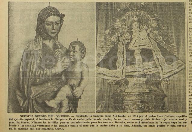 Fotos de la Virgen del Socorro publicadas el 12 de abril de 1966. (Foto: Hemeroteca PL)