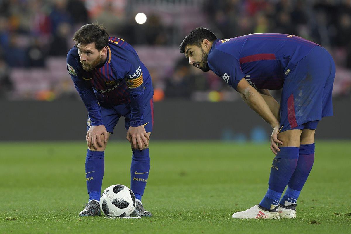 Lionel Messi y Luis Suárez jugarán desde el inicio del partido de vuelta de semifinales de la Copa del Rey contra el Valencia. (Foto Prensa Libre: AFP)