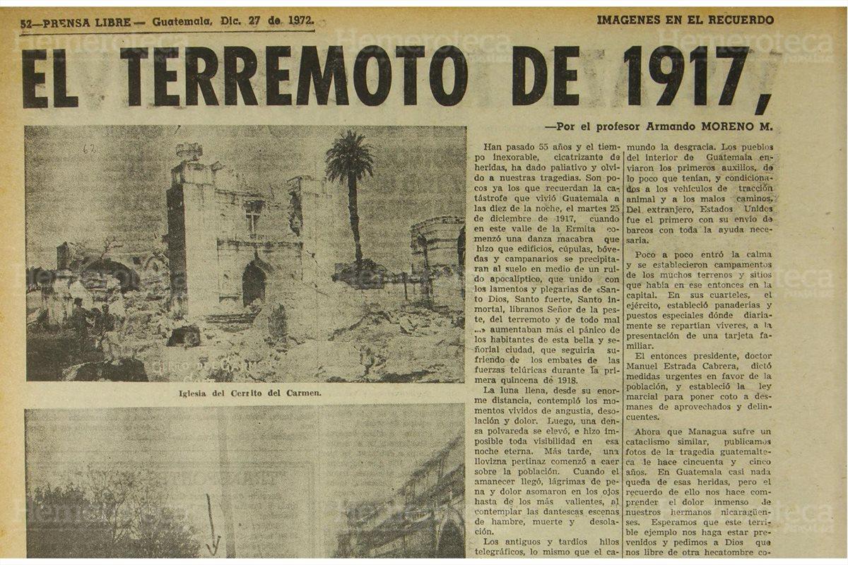 Terremoto sacude a Guatemala en 1917