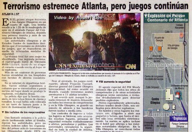 Noticia informando sobre el atentado terrorista en Atlanta 1996. (Foto Prensa Libre: Hemeroteca)