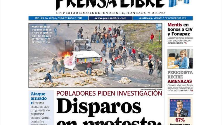 4/10/2012 Manifestantes queman camión desde el cual un guardia disparó.(Foto: Hemeroteca PL)