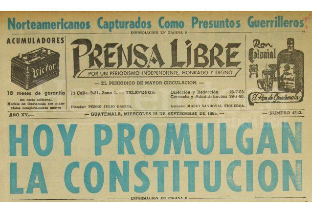 Titular de Prensa Libre del 15 de septiembre de 1965. (Foto: Hemeroteca PL)