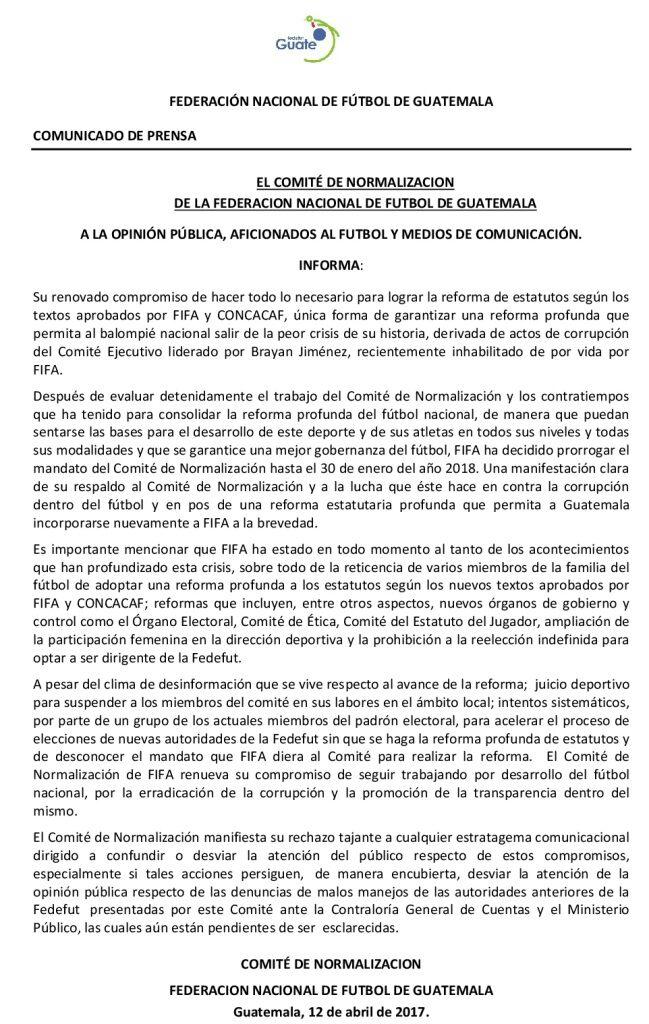 Comunicado del Cómite. (Foto Prensa Libre: Cortesía Fedefut)