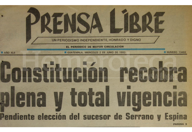 1993: Guatemala retorna al orden constitucional