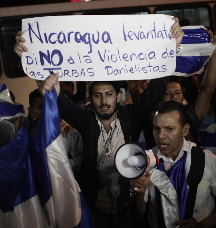 El rechazo al gobierno de Daniel Ortega ha sido evidente durante las diferentes protestas de esta semana. (Foto Prensa Libre: EFE)