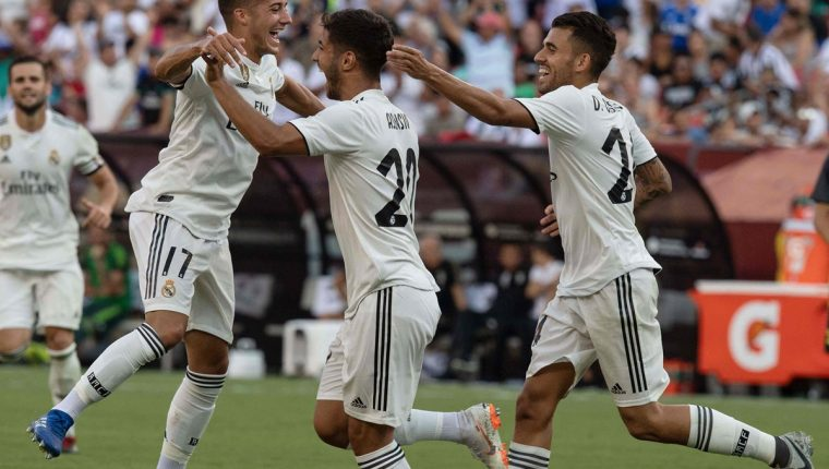 Asensio dio el primer triunfo del Real Madrid en esta pretemporada. (Foto Prensa Libre: AFP)