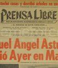 Titular de Prensa Libre del 10 de junio de 1974 informando sobre la muerte de Miguel Ángel Asturias. (Foto: Hemeroteca PL)