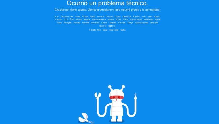La red social Twitter tiene problemas de conexión en el mundo. (Foto Prensa Libre: Twitter)