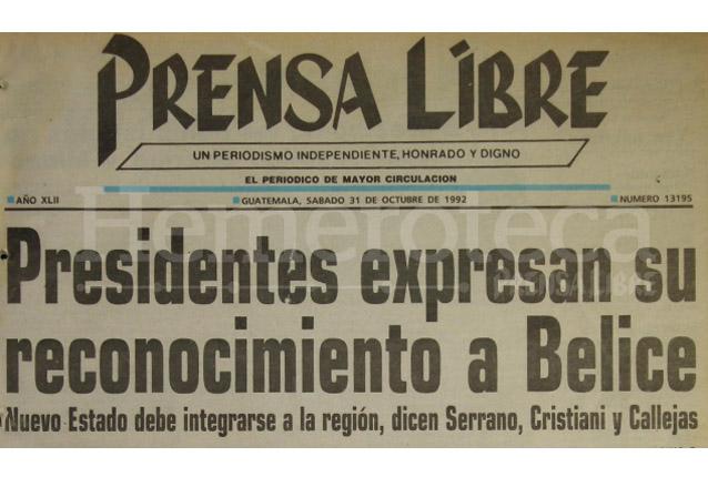El Salvador y Honduras reconocen la independencia de Belice en 1992