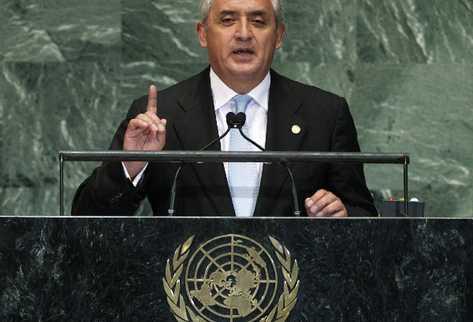 Otto Pérez Molina durante su discurso esta tarde en la Asamblea de la ONU. (Foto Prensa Libre: AP)