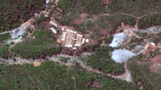 Una imagen satelital del centro de pruebas nucleares de Punggye-ri antes de las reportadas detonaciones. REUTERS