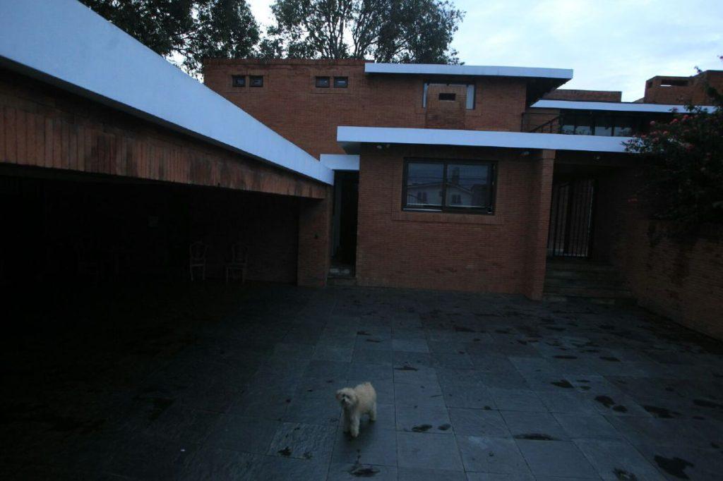 Sólo un perrito puede verse en la casa del presidente en la zona 15.