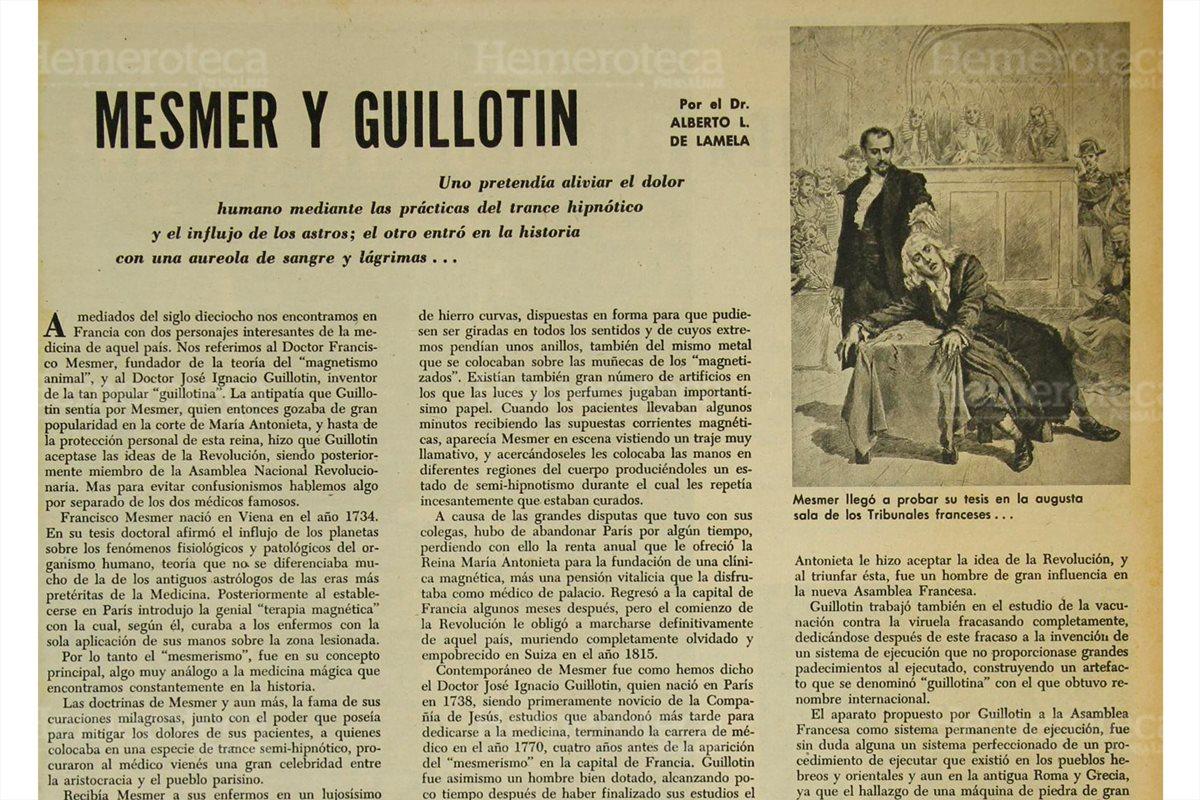 Prensa Libre publicó un artículo sobre la vida de dos médicos franceses. Uno de ellos fue Joseph Ignace Guillotin, inventor en 1789 de la guillotina. 8/6/1961. (Foto: Hemeroteca PL)
