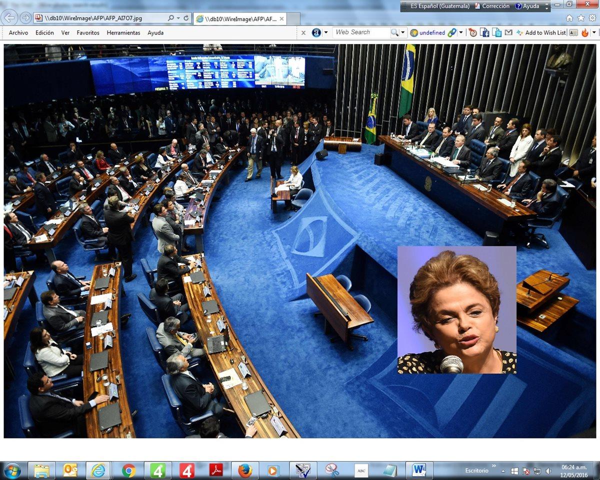 El Senado celebra encendido debate acerca de la suspensión del cargo a Russeff. (Foto Prensa Libre: AP).