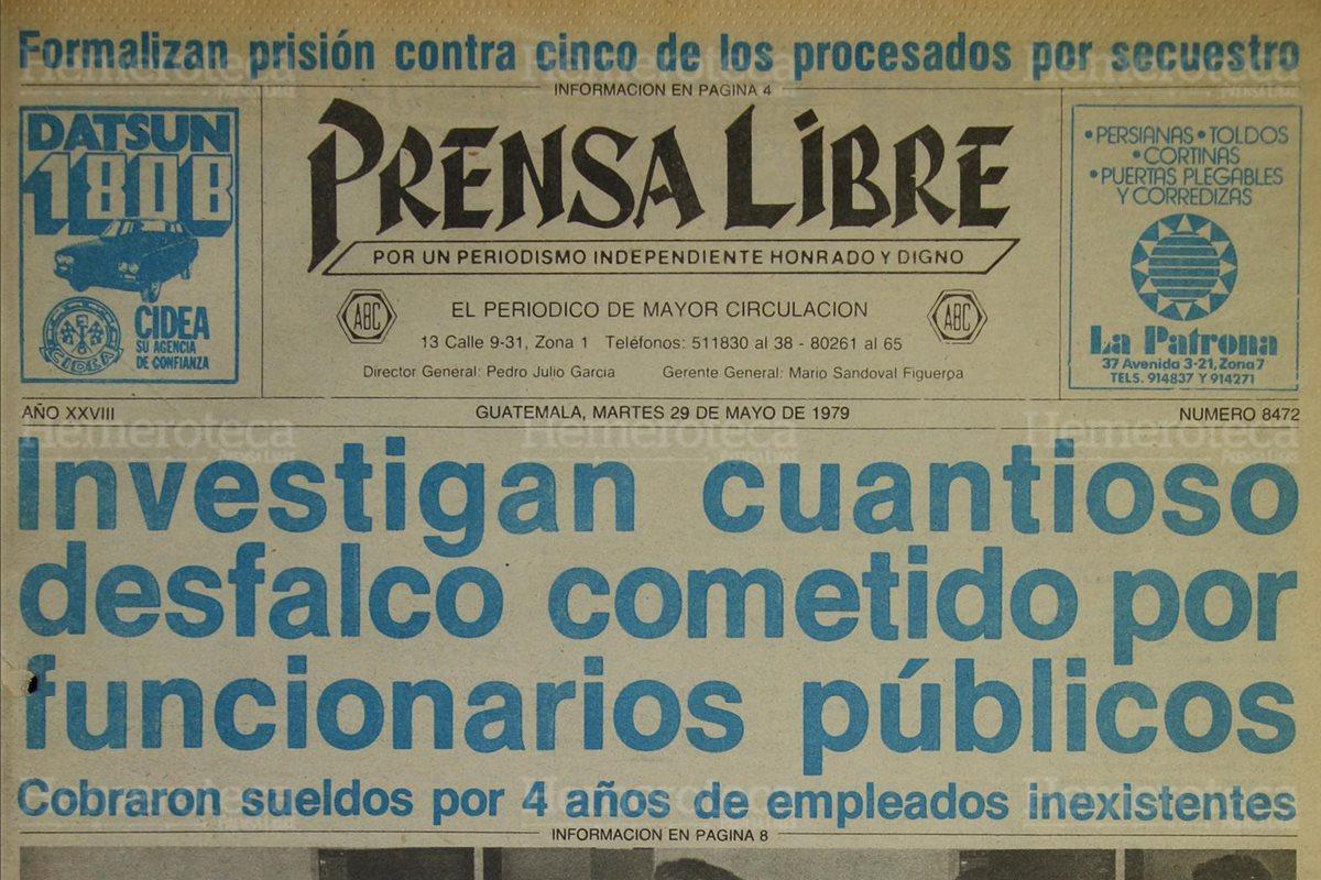 Portada de Prensa Libre del 29/05/1979 acerca del desfalco por las plazas fantasma.