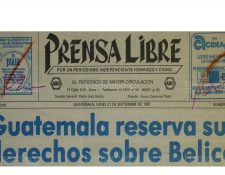 Titular de Prensa Libre con fecha 21 de septiembre de 1981, el gobierno hace formal la reserva de los derechos sobre Belice. (Foto: Hemeroteca PL)