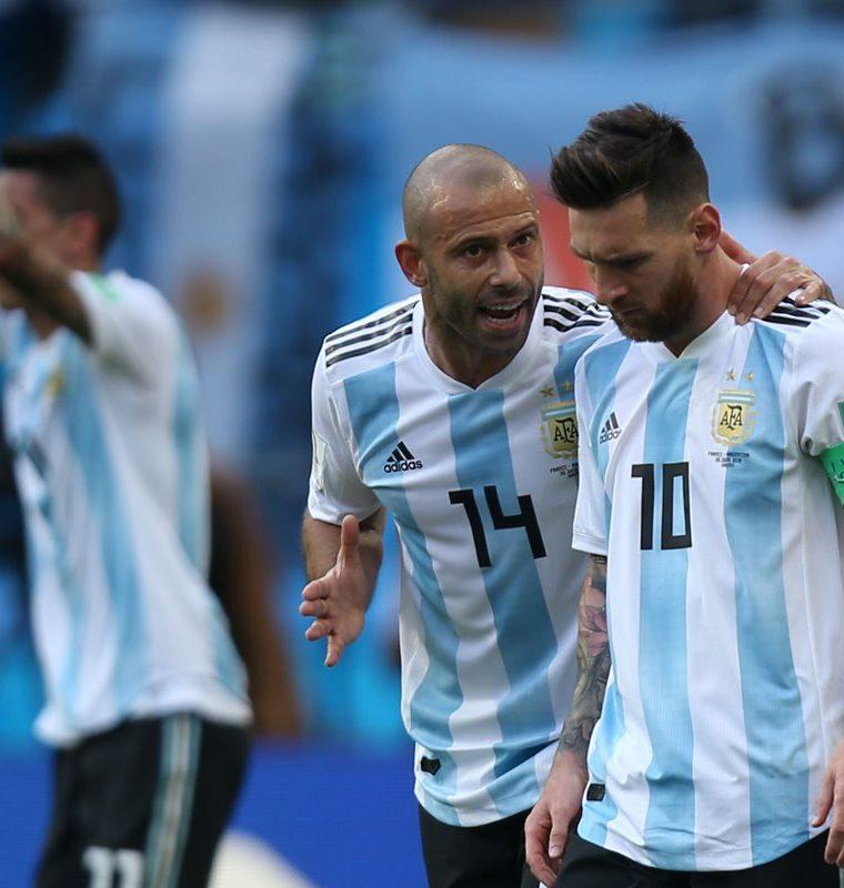 Javier Mascherano y Lionel Messi intentaron liderar a la Albiceleste en Rusia 2018. (Foto Prensa Libre: AFP)