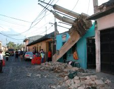 Lugar donde se registró el incidente en Antigua Guatemala. (Foto Prensa Libre: Renato Melgar).
