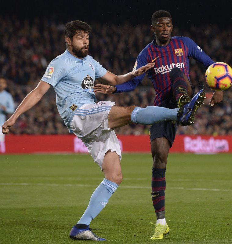 El francés Ousmane Dembelé abrió el marcador para el Barcelona. (Foto Prensa Libre: AFP)