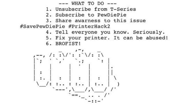 Este texto e imagen forman parte del largo documento que los hackers están enviando a impresoras de todo el mundo.