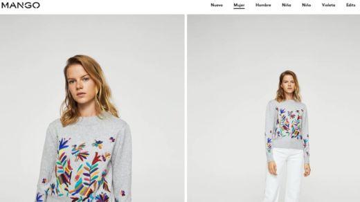 """El catálogo en línea de Mango aún tiene en venta el suéter llamado """"Jersey bordado floral"""" que ha sido señalado como copia. MANGO.COM"""
