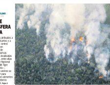 Portada de Prensa Libre del 12/04/2017 un incendio en Biosfera Maya consume varias reservas naturales de Petén entre ellas el Parque laguna del Tigre. (Foto: Hemeroteca