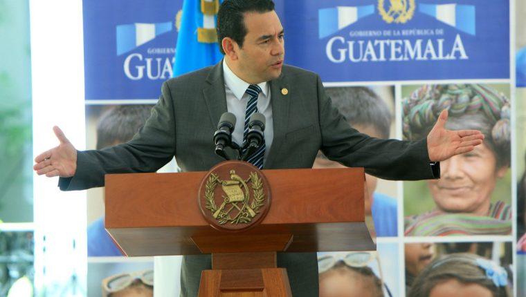El presidente Jimmy Morales afirmó que se debe aplicar la ley sea cual sea. (Foto Prensa Libre: Gobierno de Guatemala)