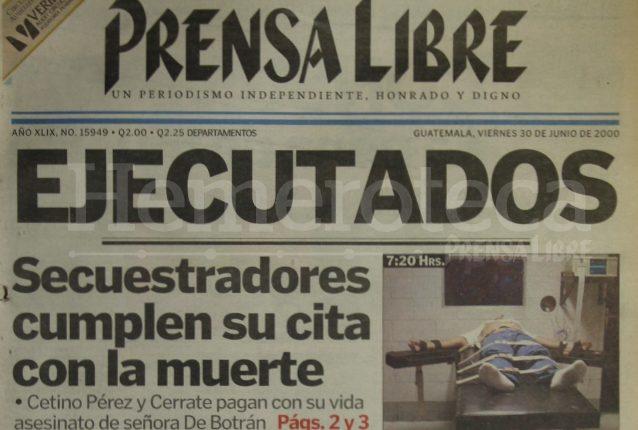 Portada de Prensa Libre del 30 de junio de 2000. (Foto: Hemeroteca PL)