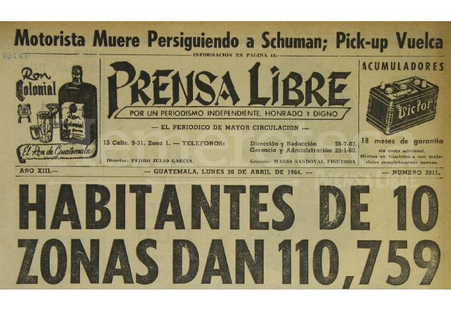 Portada de Prensa Libre del 20 de abril de 1964. (Foto: Hemeroteca PL)