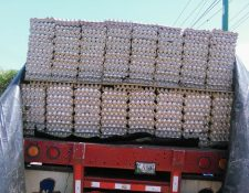 Vehículo en el que eran transportados los huevos decomisados en Chiquimula. (Foto Prensa Libre: Edwin Paxtor)