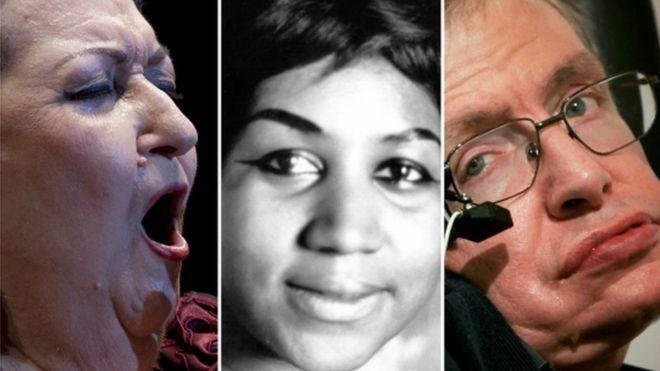 Montserrat Caballé, Aretha Franklin y Stephen Hawking fallecieron este año. Foto: GETTY IMAGES/BBC MUNDO.