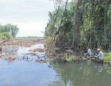 Manglares deforestados en el canal de Chiquimulilla.