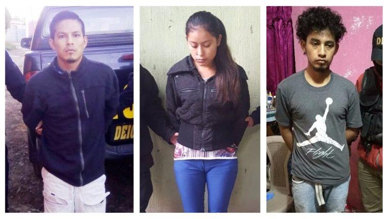 Tres de los capturados durante allanamientos contra extorsiones en El Progreso, Alta Verapaz y Guatemala. (Foto Prensa Libre: PNC)
