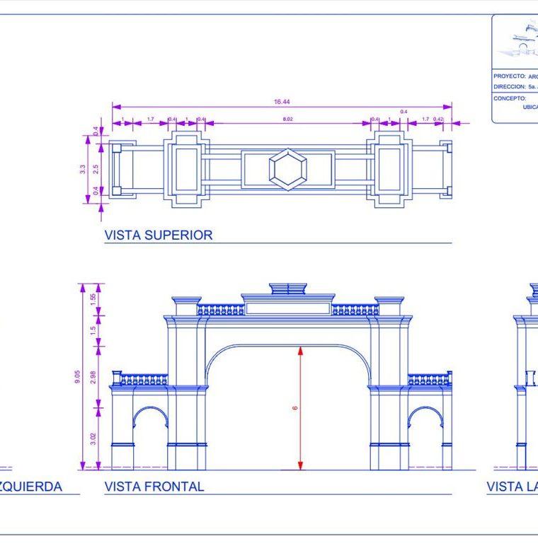 Así será el arco que la comuna construye en la entrada a la zona 1 de Mixco. (Foto Prensa Libre: Cortesía)